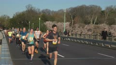 runners approach the camera in the 2017 cherry blossom ten mile run in washington d.c.