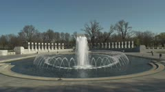 a spring morning view of the world war two memorial in washington d.c.