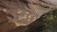 ute indian petroglyph art of big horn sheep on a rock face near delicate arch at arches national park in utah, usa