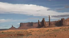 the rock formation known as the totem pole at monument valley in utah, usa