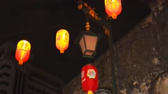 night time close up of lanterns in kuala lumpur's chinatown, malaysia