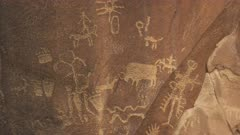 hunting bison drawing on newspaper rock at canyonlands national park in utah, usa