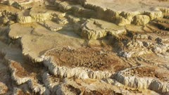 close view of mineral deposits at mammoth hot springs in yellowstone national park, usa