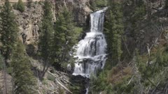 a 17% slow motion clip of undine falls in yellowstone national park, usa