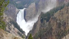 close up of upper yellowstone falls at artist point in yellowstone national park, usa