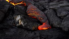close up of a surface lava flow from kilauea volcano on the big island of hawaii in the united states of america