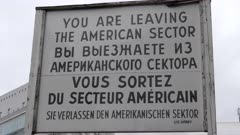 leaving the american sector sign at checkpoint charlie in berlin, germany