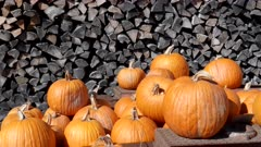 close up of fall pumpkins on a trailer with cut firewood in the background at a farm in vermont, usa