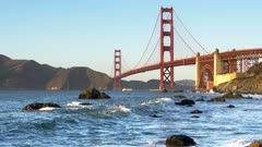 the golden gate bridge from marshall beach at sunset in san francisco, usa