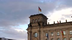 a close up panning shot of the reichstag building in berlin, germany