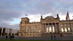 a panning right clip of the front of the reichstag in berlin, germany
