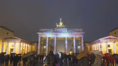 a wide shot of brandenburg gate during the festival of lights in berlin, germany
