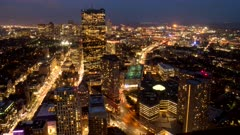 a night time lapse of boston's financial district from the observation deck of skywalk in boston, massachusetts