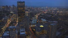 night view of boston looking towards the east from the observation deck of skywalk in boston, massachusetts