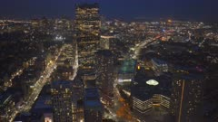 night view of down town boston from the observation deck of skywalk in boston, massachusetts