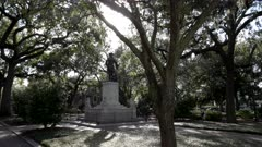 rear view of the james oglethorpe statue at chippewa square in savannah, georgia