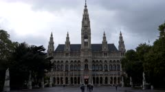 an ultra wide night view of the front of rathaus in vienna, austria