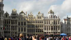 an afternoon shot of guild houses in grand place of brussels, belgium