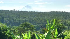 wide shot of the active volcano, mt agung, and terraced hills near bedugul on the island of bali, indonesia