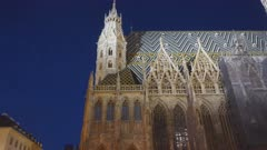 a night time view of the roof and side of st stephen's cathedral in vienna, austria