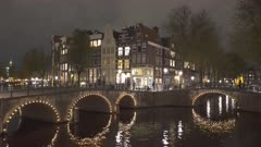 amsterdam canals and bridges at night in the netherlands