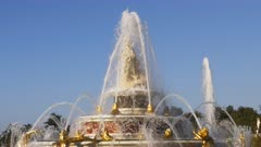 4K 60p close up of latona fountain in the gardens of versailles palace in paris, france