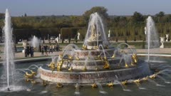 4K 60p high angle view of latona fountain in the gardens of versailles palace in paris, france
