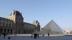 a morning exterior pan of the louvre art museum in paris, france
