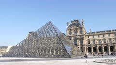 a close view of the famous glass pyramid at the louvre art museum in paris, france