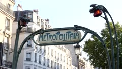 close view of a metropolitan sign to a paris subway station entrance in france