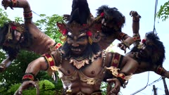 a multi-headed ogoh-ogoh statue in kuta for nyepi parade on the island of bali