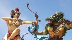 close up of an ogoh-ogoh archer statue at kuta beach in bali, indonesia