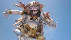 a crab themed ogoh-ogoh statue at kuta beach on bali after the hindu nyepi new year parade