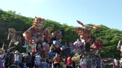 crowds viewing the ogoh-ogoh statues at kuta beach on bali during the hindu new year holiday