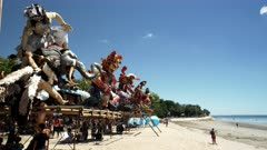 ogoh-ogoh statues on display at kuta beach in bali after the new year nyepi parade