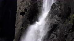 close up of the base of lower yosemite falls in yosemite national park in the usa