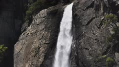 a slow motion tilt down clip of lower yosemite falls in yosemite national park in the united states