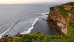 wide shot of macaque monkeys resting on a cliff edge at uluwatu temple in bali, indonesia