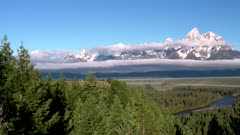 a panning right shot of the tetons and snake river tetons from an overlook in the grand tetons national park in the united states