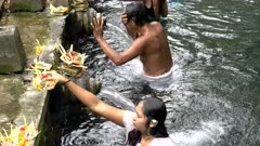 a hindu woman places offering at the holy spring fountains in tirta empul temple on bali, indonesia