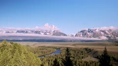 a day time lapse of grand teton and the snake river in grand teton national park, usa