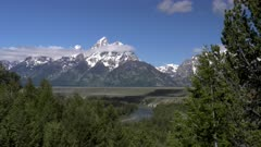 a morning zoom in shot grand teton from snake river overlook in grand teton national park in the united states