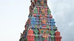 close zoom in shot of the side of the sri siva subramaniya hindu temple in nadi, fiji