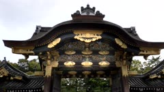 a gimbal shot of the north side of karamon gate at nijo castle in kyoto, japan