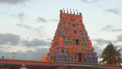 a close view of the sri siva subramaniya hindu temple in nadi, fiji at sunset