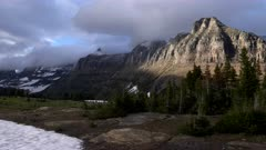 a zoom in shot of mount pollock at glacier national park in montana, usa