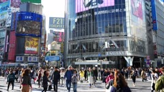 a gimbal steadicam clip walking across the street at shibuya crossing in tokyo, japan