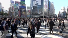 a gimbal steadicam clip walking across the busy shibuya crossing in tokyo, japan