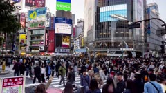 panning afternoon time lapse of the incredibly busy shibuya crossing in tokyo, japan