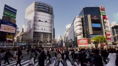 an afternoon time lapse of people and traffic at shibuya crossing in tokyo, japan